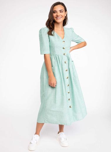 DeFacto Çizgili Gömlek Elbise Yeşil